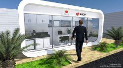 Container Stand de vendas arredondado 6.00m x 2.45m  (3 opções de Layout)